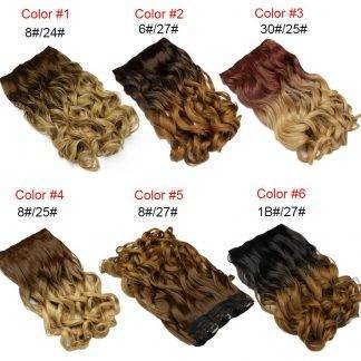 Neverland 24″ 60cm Wavy 5 Clips One Piece Natural Brown Two Tone Ombre Synthetic Hairpiece Clip In Hair Extensions for Women