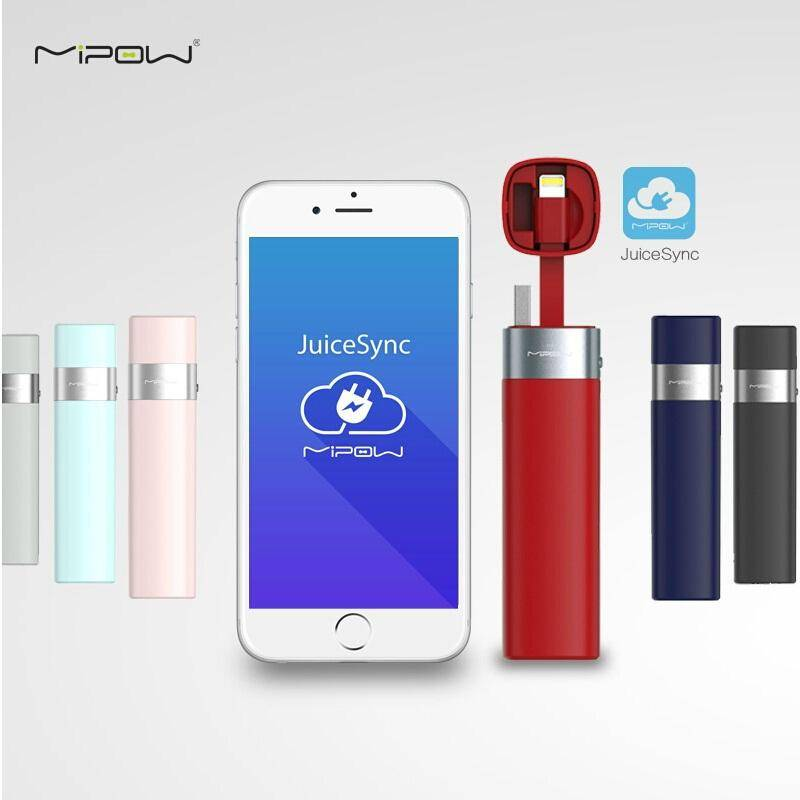 MIPOW Power Bank Battery 3000mAh Smart APP Portable Mini Charger with MFI Lightning Cable for iPhone 6 6S 7 Plus 5 5S iPod Apple