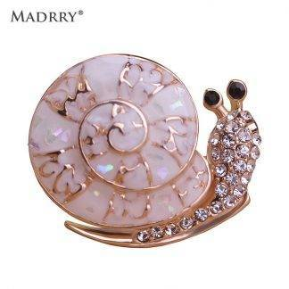 Madrry Abalone Shell Snails Brooches for Women Girl Personality Jewelry Scarf Lapel Pin Dress Decoration Animal Accessories