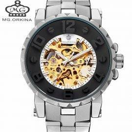 Automatic Mechanical Watch Men Hot Skeleton Watches Silver Bracelet Wristwatch Luxury Brand ORKINA Men's Watch Auto Self-winding