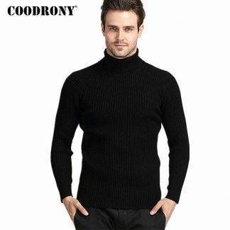 COODRONY Winter Thick Warm 100% Cashmere Sweater Men Turtleneck Brand Mens Sweaters Slim Fit Pullover Men Knitwear Double collar