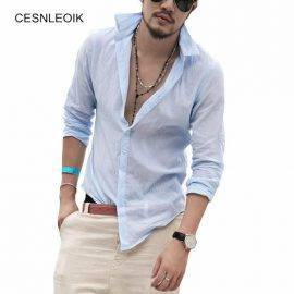 Plus Size Shirts Swag Cotton Linen Men Shirt Long Sleeve Summer Style Hawaiian Shirts Sexy Slim Fit Men Clothes New YC011