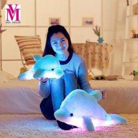 1PCS 45CM/70CM Led Light Pillow Cute Animal Dolphin Luminous Pillow Cartoon Plush Toy Children Birthday Xmas Gift