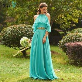 Dressv green scoop neck a line bridesmaid dress zipper-up sleeveless beading wedding party women floor length bridesmaid dress