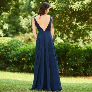 Dressv dark navy v neck a line bridesmaid dress zipper-up backless wedding party women floor length bridesmaid dresses