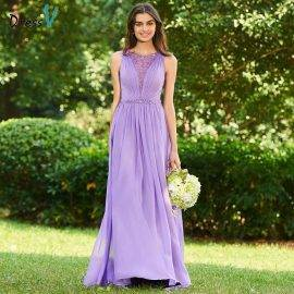 Dressv dark lilac scoop neck a line bridesmaid dress button sleeveless wedding party women floor length bridesmaid dresses