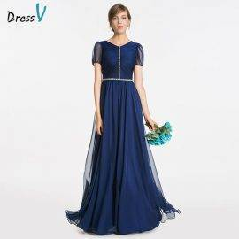 Dressv dark navy v neck a line bridesmaid dress zipper-up short sleeve beading wedding party women floor length bridesmaid dress
