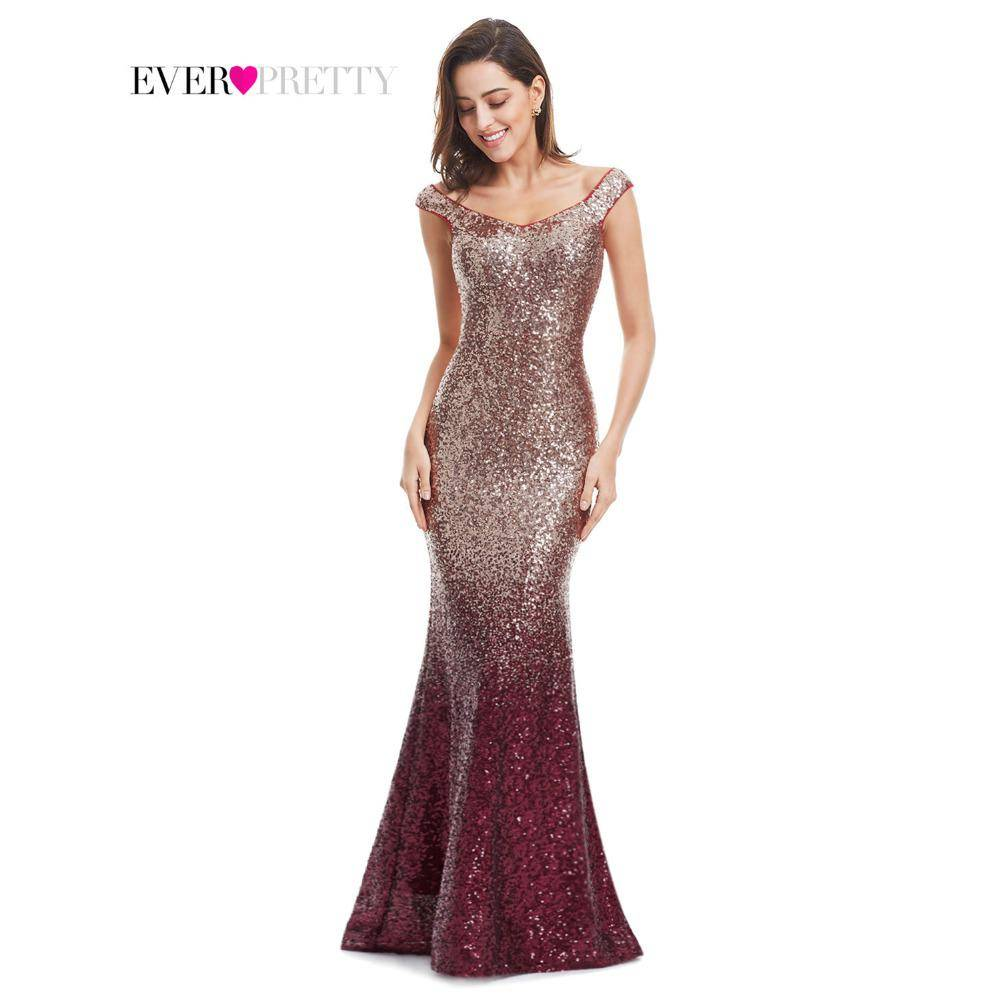 Evening Dress Long Sparkle Ever-Pretty 2018 New V-Neck Women Elegant EP08999 Sequin Mermaid Maxi Evening Party Gown Dress
