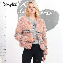 Simplee Bead flower lambswool faux fur coat women Vintage natural fur winter coat hairy overcoat Chic warm fake fur jacket coat
