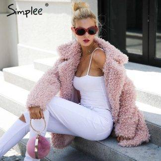 Simplee Warm winter faux fur coat women Fashion streetwear large sizes long coat female 2017 Pink casual autumn coat outerwear