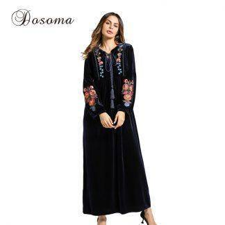 Fashion Women's Dress Velvet Embroidery Winter Maxi Abaya Robe Gowns Long Jilbab Muslim Loose Style Middle East Islamic Clothing