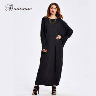 Casual Muslim Knit Maxi Dress Winter Bat Sleeve Abaya Middle East Long Robe Burka Kaftan Hijab Islamic Arab Prayer Clothing