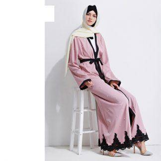 Muslim Abaya Dress Elegant Beading Lace Cardigan Robes Kimono Middle East Jubah Ramadan Arabic Turkish Islamic Prayer Clothing