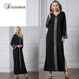 Muslim Abaya Robe Hooded Dress Cardigan Embrodiery Ramadan Burka Thobe Middle East Islamic Turkish Arab Prayer Clothing