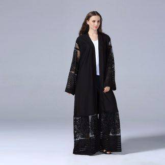 Elegant Muslim Abaya Dress Lace Cardigan Tunic Thobe Burka Islamic Clothing Middle East Long Robe Gowns Kimono Jubah Turkish