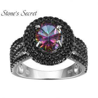 Black Spinel With Orange Padparadscha or Rainbow Topaz or Ruby Tanzanite Blue Corundum Green CZ Ring 925 Silver Fine Jewelry