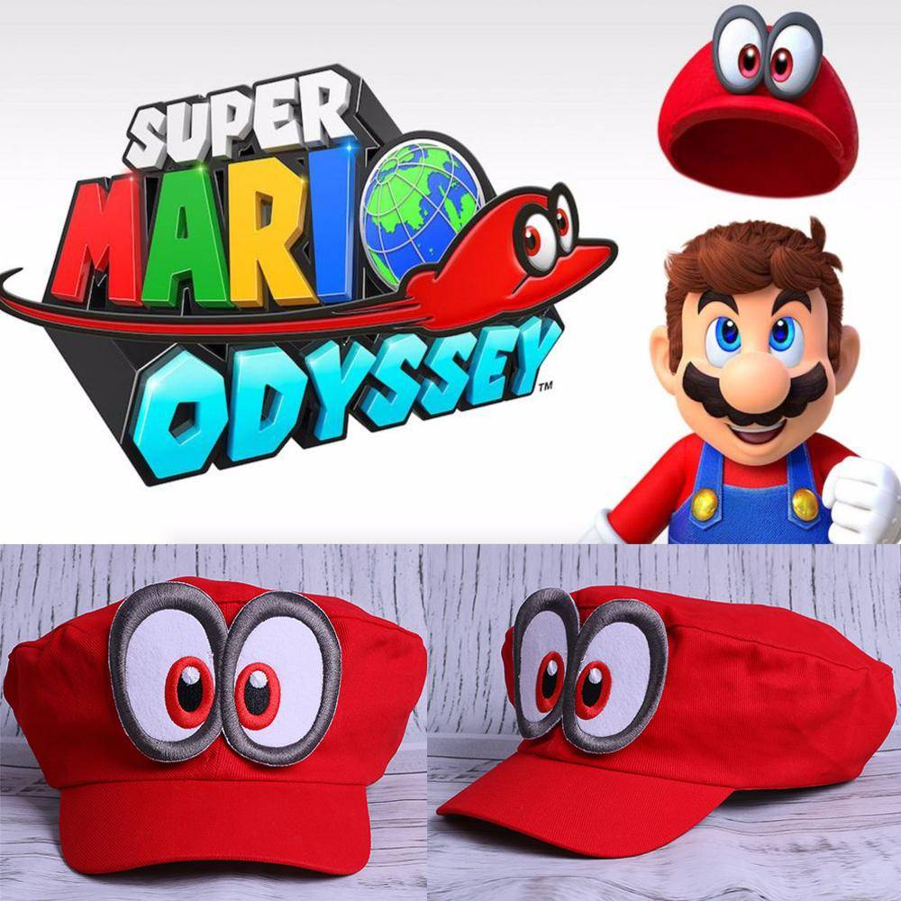 Super Mario Hat Red Odyssey 2018 New Mario Cap Wearable Baseball Caps Unisex Adjustable Cotton Costume Halloween Party Prop