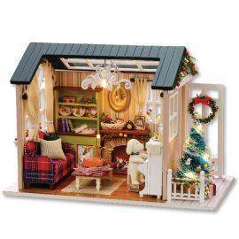 Handmade Furniture Doll House Diy miniature doll house 3D Wooden Miniaturas Dollhouse Toys for Christmas and birthday gift z009