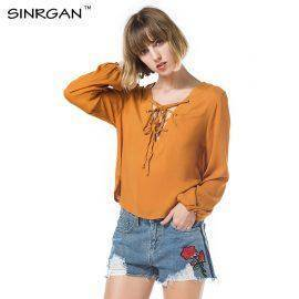 Women Chiffon Blouse Autumn Long Sleeve Lace Up Solid Tops Femme Casual Deep V-Neck Shirts