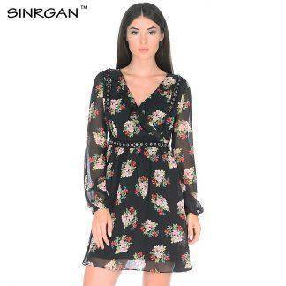 Ruffle Print Summer Dress Vintage Irregular Wrap Short Dress Women Slim Chic Chiffon Black Dress Mini Beach Dresses