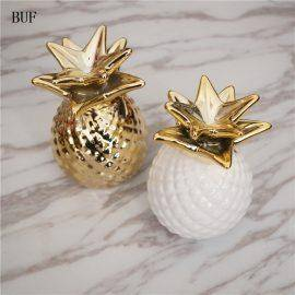 BUF Ceramic Pineapple Piggy Box Cute Kids Gift Home Decoration Cash Coin Saving Box Creative House Money Box Pineapple Ornament