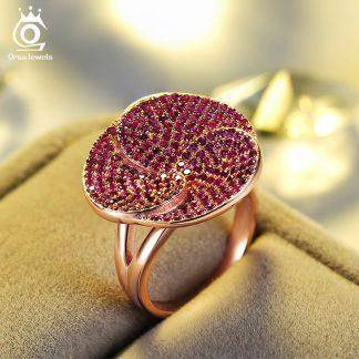 ORSA JEWELS Fashion Luxury Lead&Nickel Free Ring Rose Gold Color Flower Party Ring with 207 pcs AAA Cubic Zircon for Women OR135