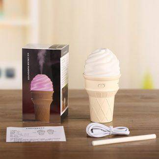 Ice Cream Ultrasonic Humidificador USB Air Humidifier for Car Home Aromatherapy Essential Diffuser with Aroma Lamp