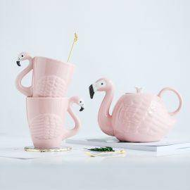 3D Animal Flamingos Bird Teapots Super Beauty ins Girl Pink Ceramic Cute Animal Coffee Mug Tea Pot Cup Birthday Gift Decoration