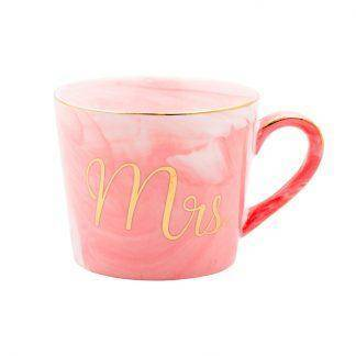 Handpainted Gold Monogram Natural Marble Porcelain Coffee Mug Mr and Mrs Tea Milk Cup Creative Wedding Anniversary Gift