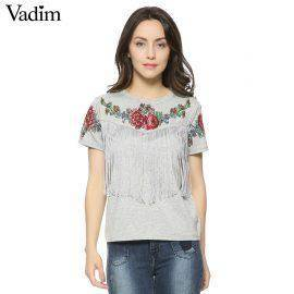 Women tassel floral print T shirt vintage red rose tees O neck short sleeve shirts blusa feminina casual slim brand tops DT42