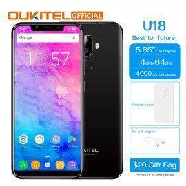 OUKITEL U18 5.85″ Full Display Mobile Phone MT6750T Octa Core Android 7.0 4G RAM 64G ROM 4000mAh Face ID Fingerprint Smartphone