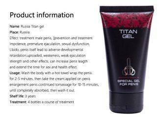 Russian Titan Gel, Penis Enlargement Cream Xxl Imported for External Use, Thickening,sex Time Delay, Massage, Adult Products
