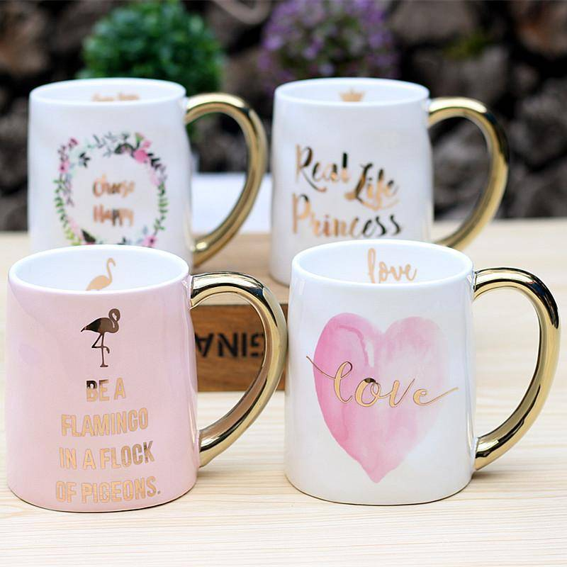 Glod Monogrammed Flamingo White Ceramic Coffee Mug Cup for Tea Water Milk Drinkware Creative Present