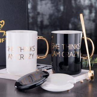 400ml Ceramic White Glossy Mug With Gold Foil Print and Gold Handle