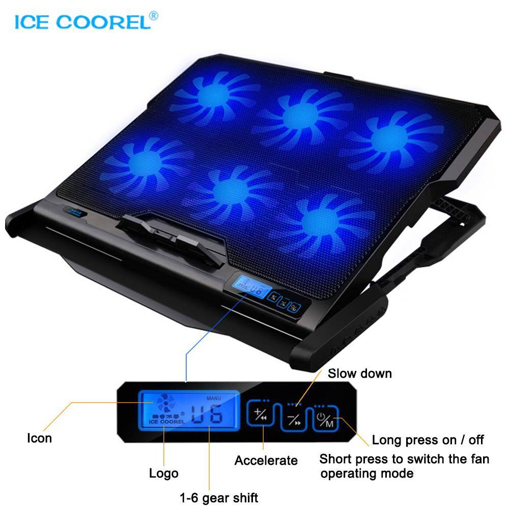 ICE COOREL Laptop cooler 2 USB Ports and Six cooling Fan laptop cooling pad Notebook stand For 12-15.6 inch fixture for laptop
