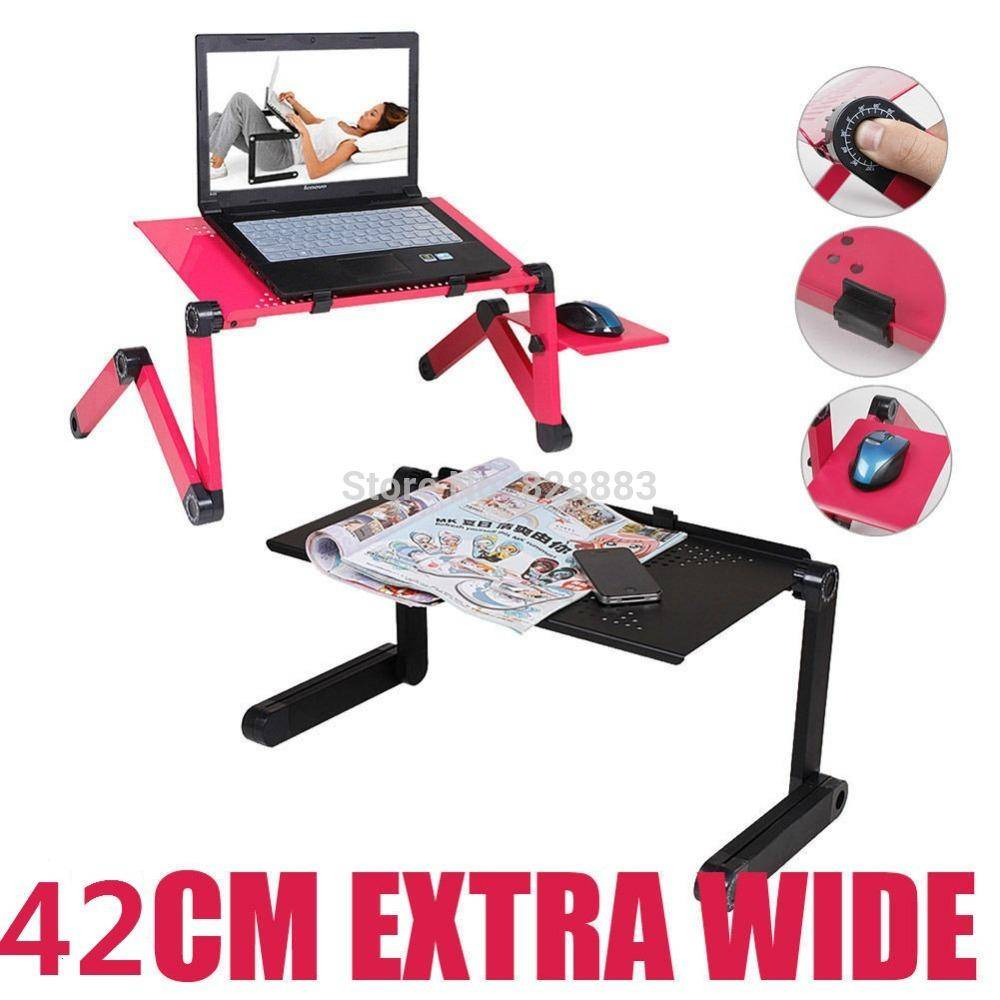 Large Laptop Table With 2 Cooling Fans Sofa Desk Stand + Foldable Multi Angle Legs 360 Rolling adjustable Folding Notebook Table