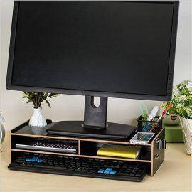 New Desktop Monitor Stand Computer Screen Riser Wood Shelf Plinth Laptop Firm Strong Laptop Stand Holder For Notebook TV