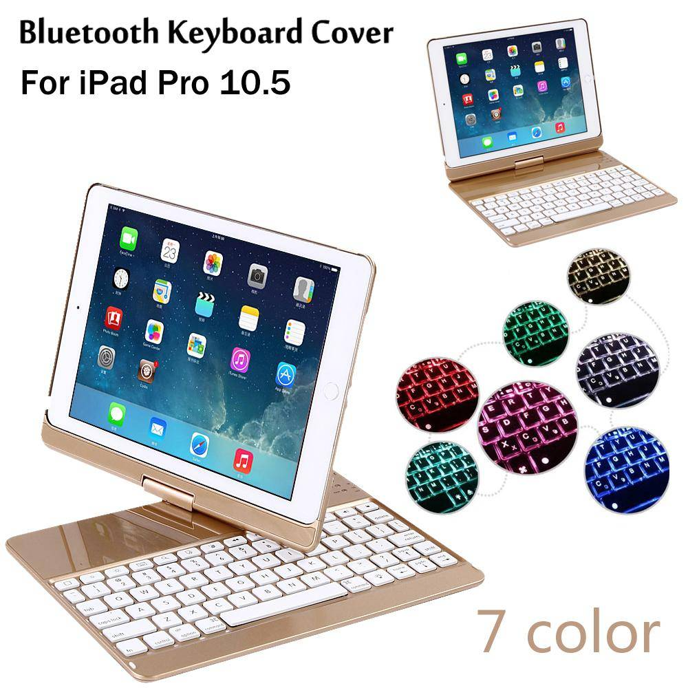iPad Pro 10.5 360 degree rotation 7 Colors Backlit Light Wireless Bluetooth Keyboard Case Cover + Gift