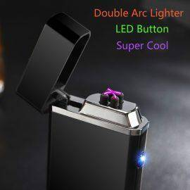 Metal Windproof Electronic Lighter Double Arc Usb Charging Electric Plasma Pulse for Smke Pipe Cigarette Cigar Hookah Shisha