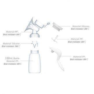Manual Breast Pump Powerful Baby Nipple Suction 150ml Feeding Milk Bottles Breasts Pumps Bottle Sucking T0099