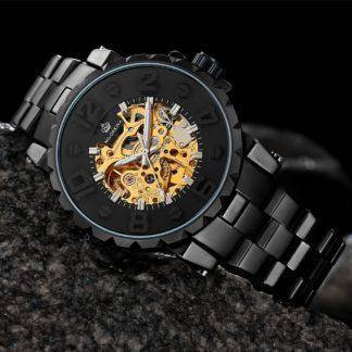 2018 New Men's Skeleton Wrist watch Black Stainless steel Antique Steampunk Casual Clock Automatic Skeleton Mechanical Watches