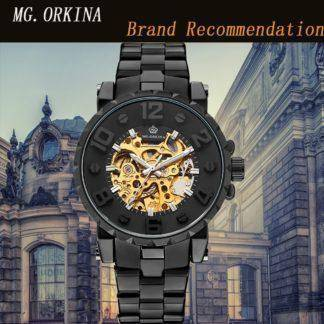 ORKINA Men Wristwatch Golden Skeleton Clock Mechanical Male Wrist Watch Black Relogio Masculino Automatic Winner Zegarek Meski