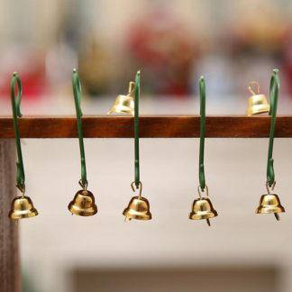 Gold Metal Trumpet Bells for Christmas Tree Hanging Ornaments Pendants Decor Wind Chime Accessories