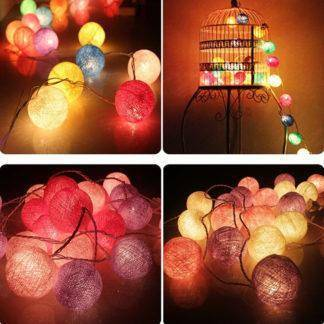 Colorful Cotton Ball LED String Lights Christmas Decoration For Home Wedding Garden Xmas Ornaments New Year Decor