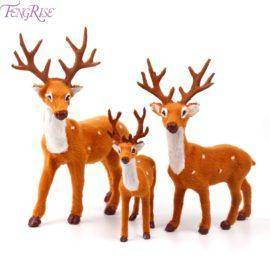 FENGRISE Plush Christmas Reindeer Xmas Elk Plush Simulation New Year Gift Christmas Decorations for Home