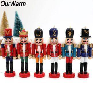 Wooden Nutcracker Christmas Tree Hanging Ornaments Desktop Decoration Walnuts Soldiers Band Doll New Year Gift