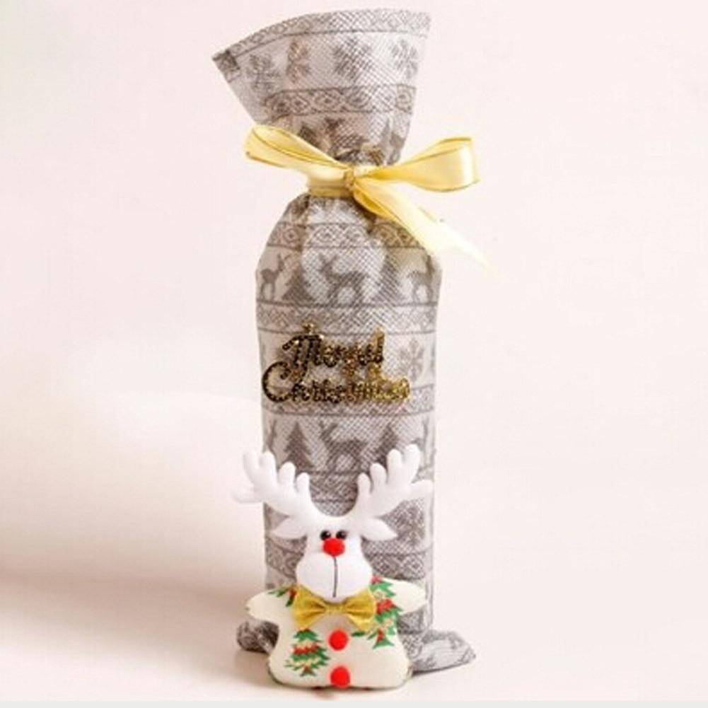 New Arrival Christmas Decorations for Home Santa Claus Wine Bottle Cover Bag Santa Sack Noel Decoration