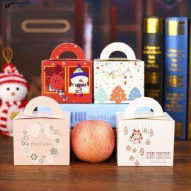 Merry Christmas Gift Boxes Christmas Eve Candy Bag Folded Colorful Christmas Apple Boxes Christmas Stocking Ornaments