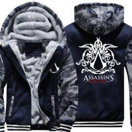 Assassins Creed Printing Hoodie Men USA Size Thicken Fleece Zipper Long Sleeve Sweatshirt Army Camouflage Coat