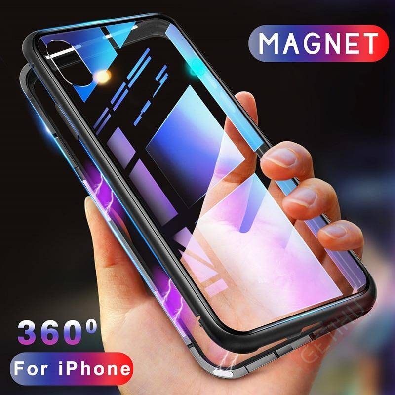 GETIHU Magnetic Case for iPhone XR XS MAX X 8 Plus 7 + Metal Tempered Glass Back Magnet Cases Cover for iPhone 7 6 6S Plus